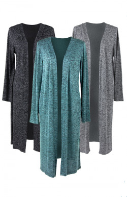 """Reorder: Hello Mello """"Carefree Threads"""" Long Cardigan w/Matching Drawstring Pouch"""