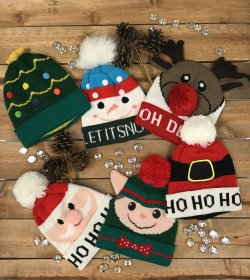 Christmas Kids Knitted Hats 24PC